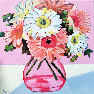 Beauty Pageant framed floral acrylic painting in pink by artist Merrill Weber