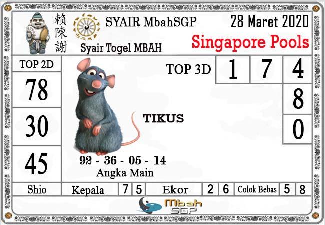 Bocoran Togel Singapura Sabtu 28 Maret 2020 - Syair Mbah SGP