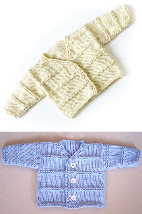 Garter Ridge Baby Cardigan - Free Pattern