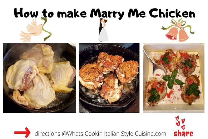 how to make sicilian chicken in cream sauce collage of photos