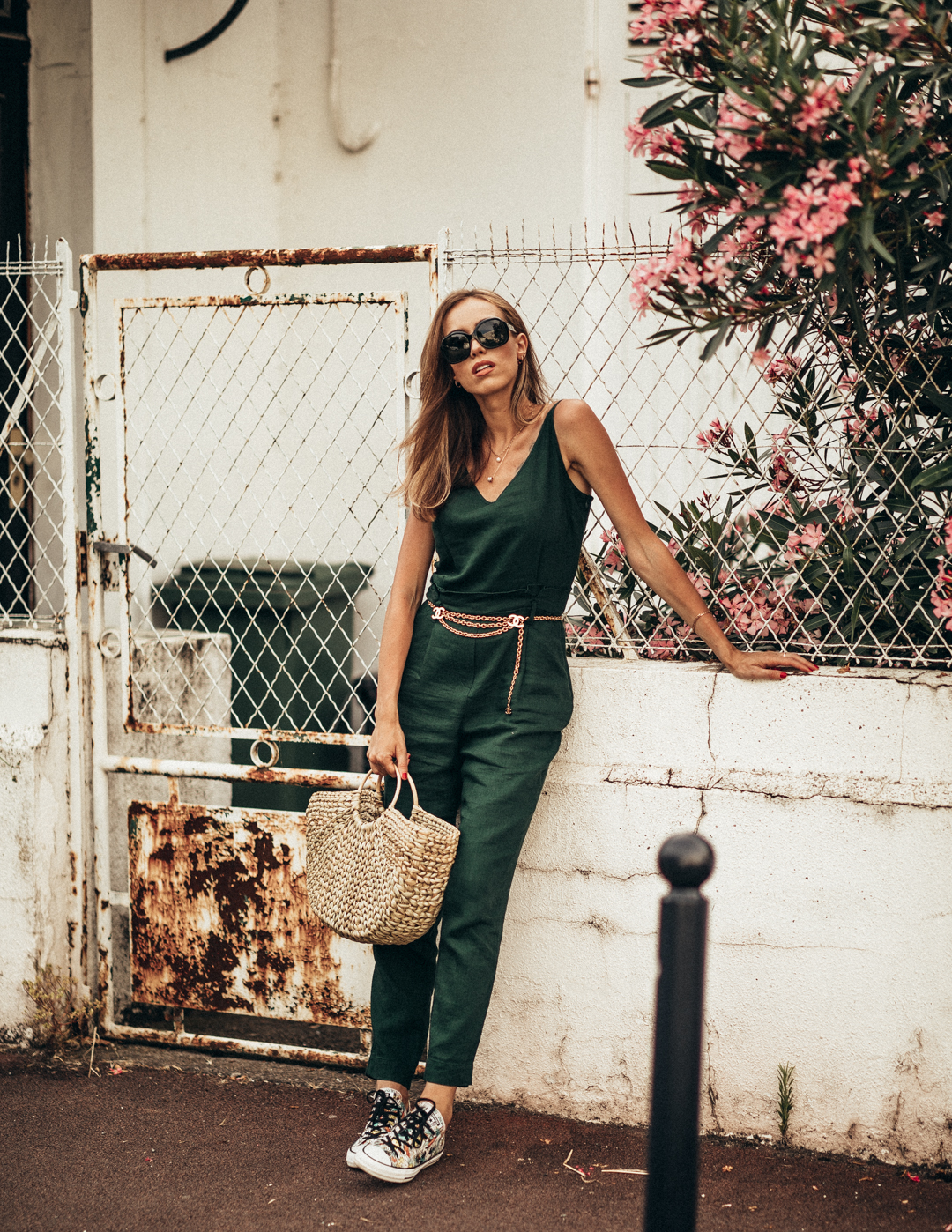 green jumpsuit summer outfit vintage chanel chain belt