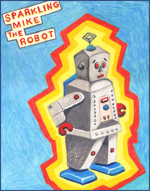 Colored pencil drawing of vintage toy robot