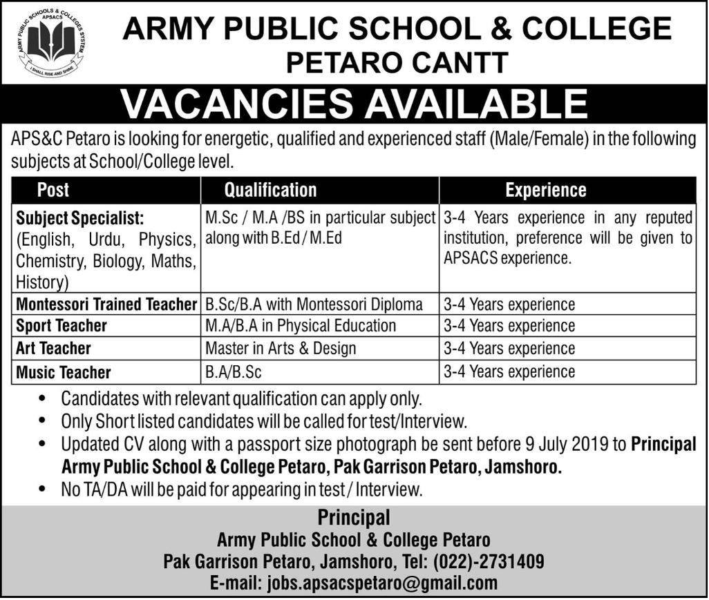 Latest Advertisement Army Public School And College Petaro Jobs 2019