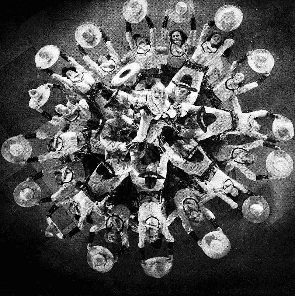 a photograph of Busby Berkeley's cinematic choreography, cowboys and cowgirls seen from above