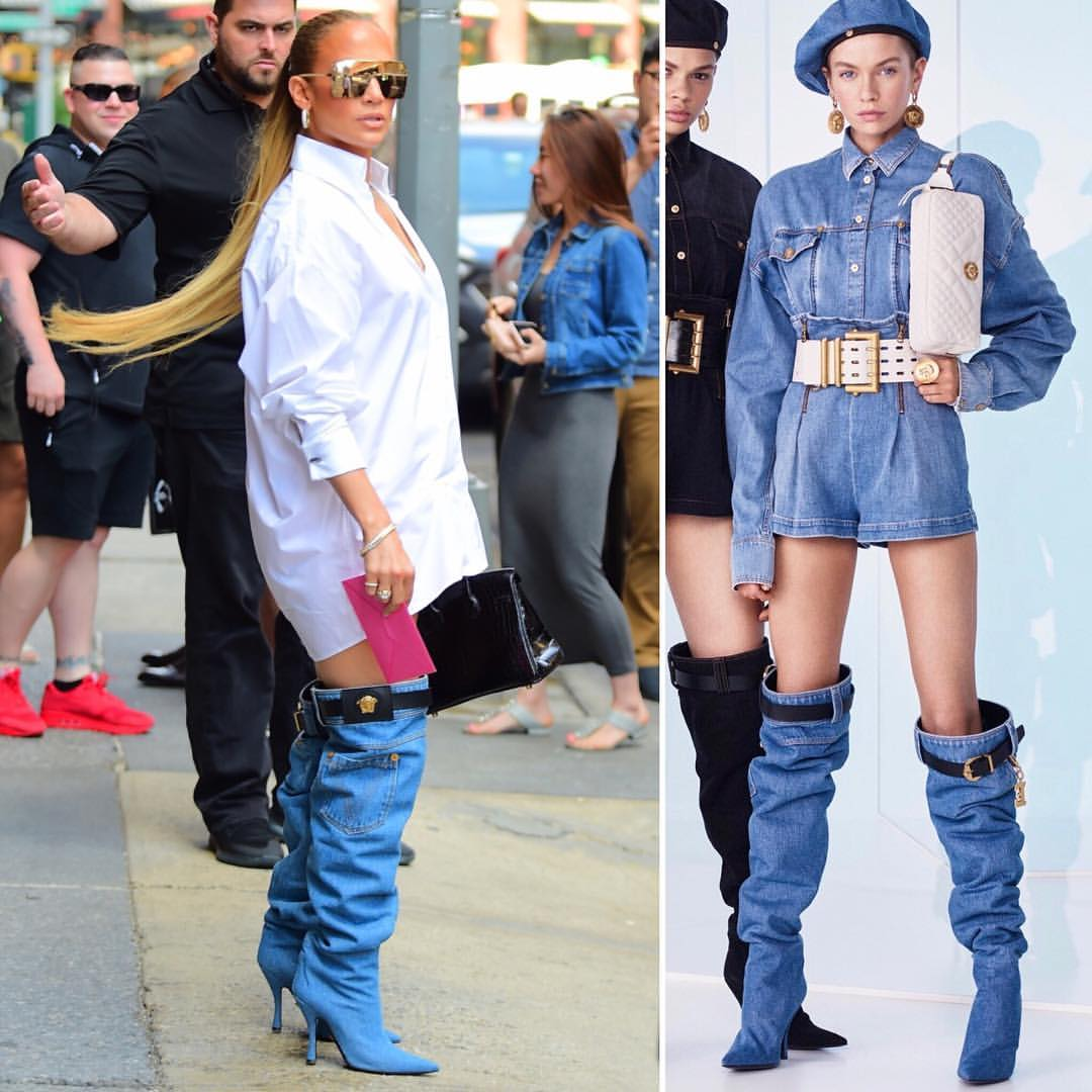 760d607dfa4a The Dinero singer was yesterday spotted in New York in a crisp, white  oversized shirt dress and thigh-high denim boots with a belt + buckle from  Versace's ...