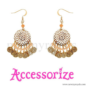 Kate Middleton style, jewelry Accessorize Filigree Bead Short Drop Earrings