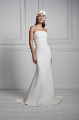 Anne Barge Strapless simple crepe sheath bridal dress