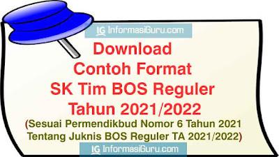 Download Contoh Format SK Tim BOS Reguler Tahun 2021/2022 Sesuai Permendikbud Nomor 6 Tahun 2021 Tentang Juknis BOS Reguler Tahun 2021/2022 I PDF