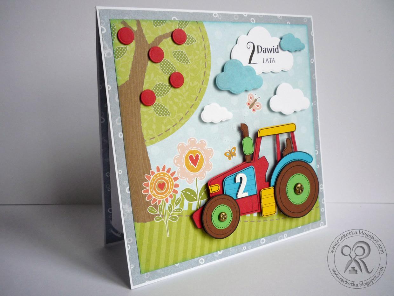 Kartka dla dwulatka z traktorem
