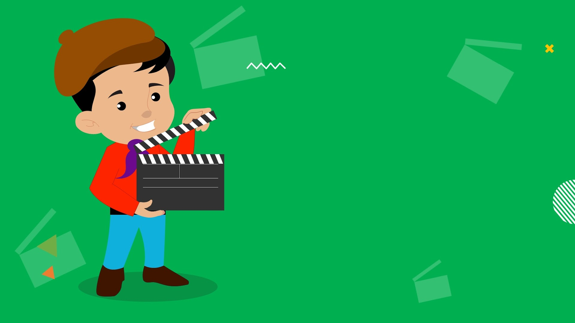 Kid Standing with movie clapperboard - free background for presentations