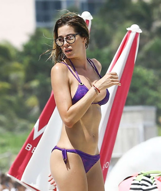 Aida Yespica in Purple Bikini at the beach in Miami