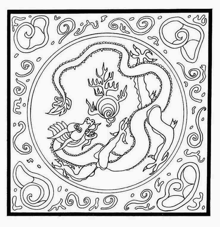 Animal Dragon Mandala Coloring Pages With Pearl