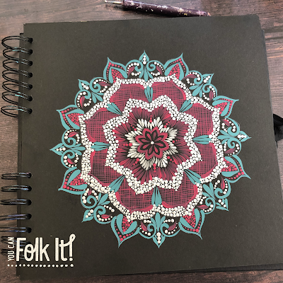 Bright mandala with a touch of metallic paint from You Can Folk It