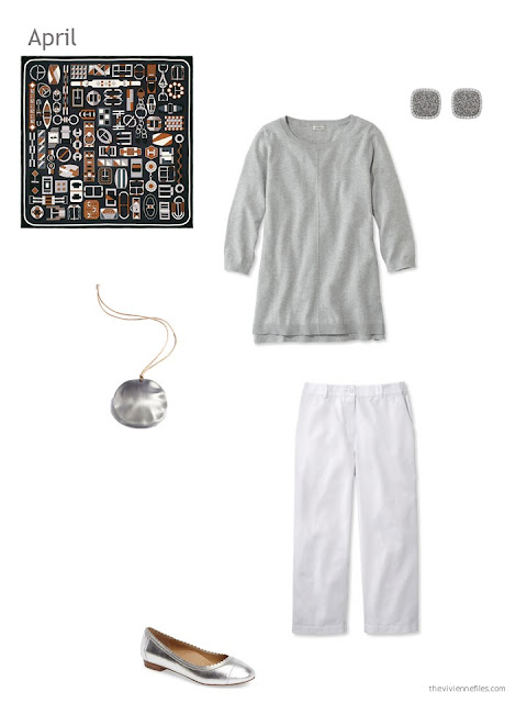 a grey and white outfit for spring weather