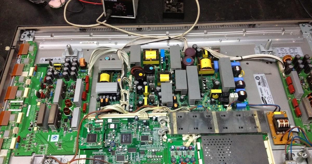 小二電器維修-2手-零件-宅配: SW-42HD3 三洋電漿電視-畫面斜黑紋干擾修理(小二電器修理-2手買賣-中古零件)