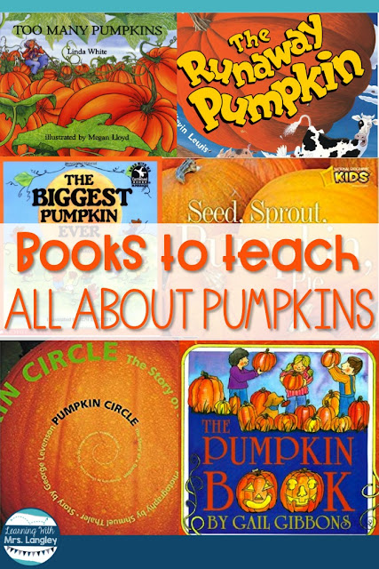 5 fun pumpkin books for preschool, kindergarten or first grade. Your toddlers will even love these! Whether getting ready to make a craft, do a project with pumpkins or learn about life cycles these books are great for kids. I use these when I teach All About Pumpkins in my kindergarten classroom. #kindergarten #allaboutpumpkins #pumpkinbooks