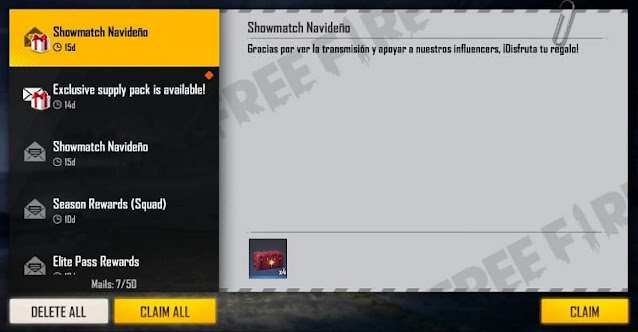 Free Fire redeem code for today 4x Memory Box