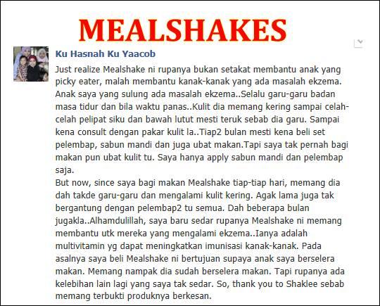 Testimoni meal shakes shaklee