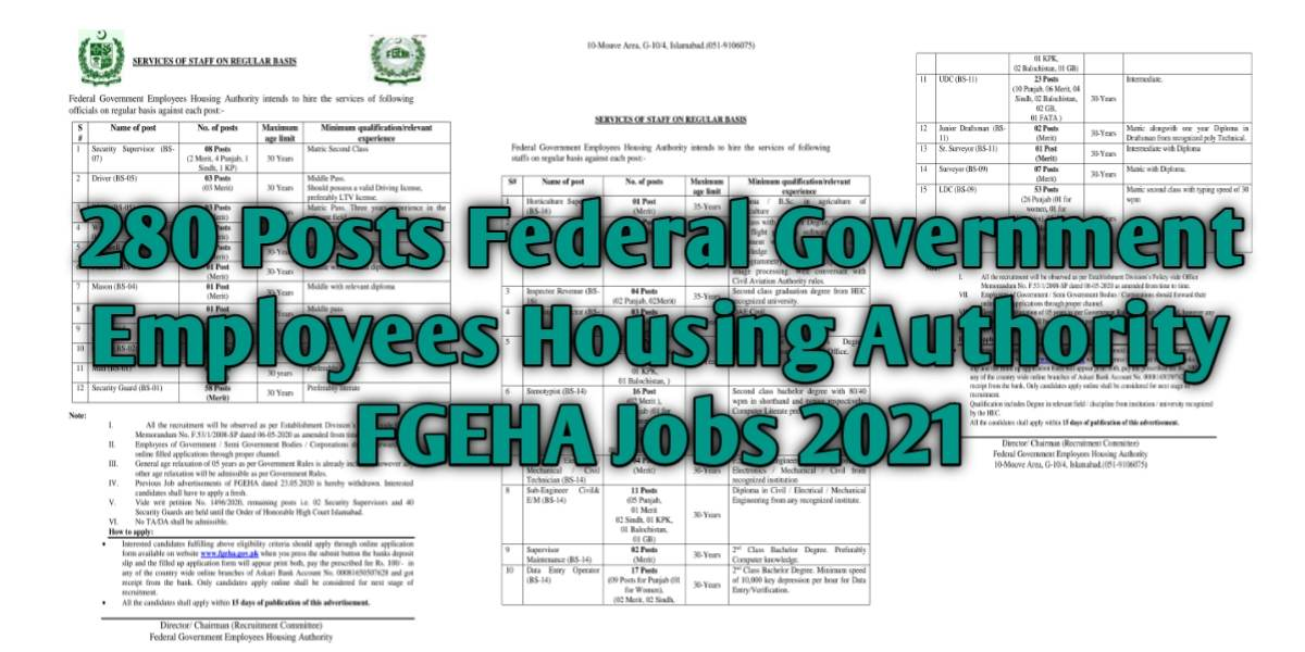 280 Posts Federal Government Employees Housing Authority FGEHA Jobs 2021 For Supervisor, Inspector Revenue, Computer Technician, Data Entry Operator, UDC, Surveyor, LDC & more