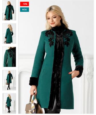 Palton dama de iarna frumos verde elegant din lana cu blanita