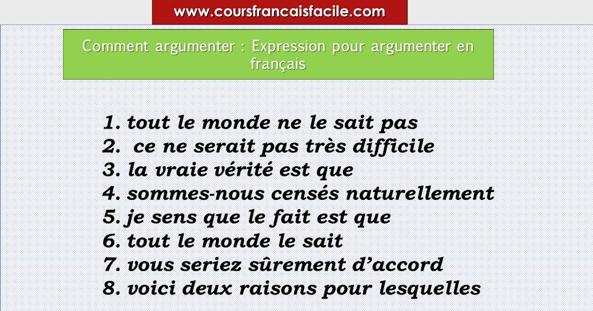 Comment argumenter : Expression pour argumenter en français