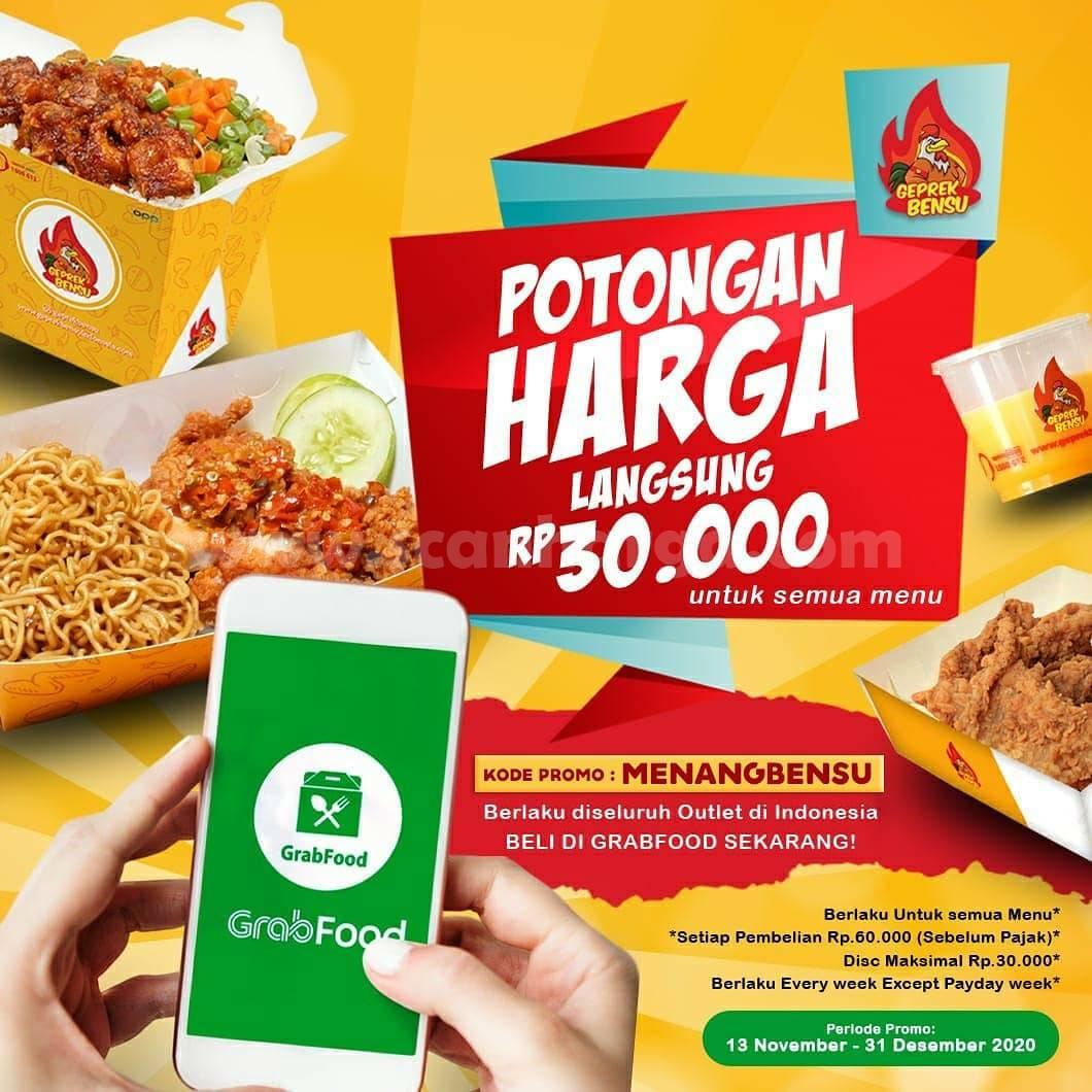 Geprek Bensu Promo GRABFOOD Diskon Potongan Harga Rp 30.000