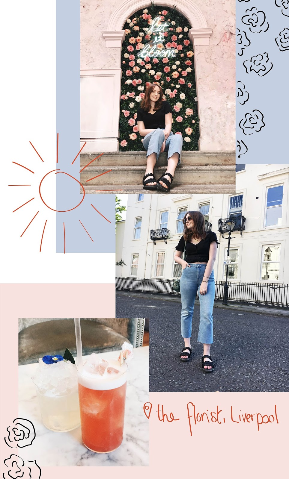liverpool style blogger wearing asos summer outfit at the florist liverpool, collage