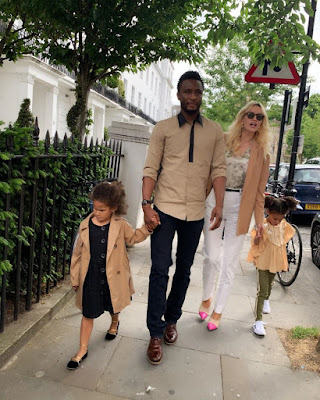 mikel obi with his wife olga and children twins