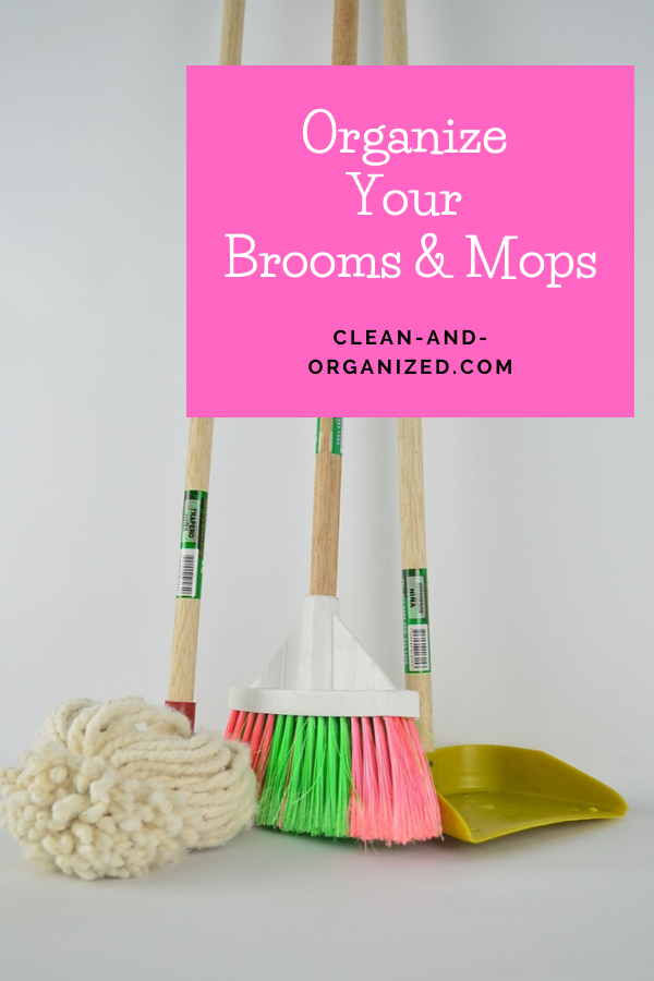 Keep your broom closet neat with these broom and mop organizers - you'll find a few DIY broom storage hacks as well. Sae space and install these in your home #broomorganizer #broomstorage