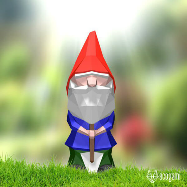 Printable paper garden gnome with shovel
