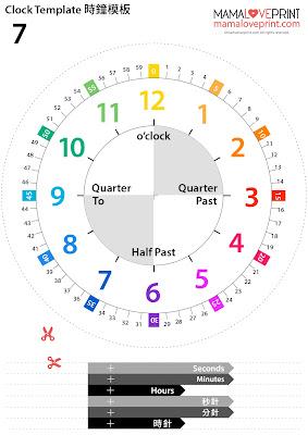 Mama Love Print 自製工作紙  - 認識時間時鐘模板 Clock Template Kindergarten Printable Freebies Activities