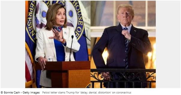 Pelosi letter accuses Trump of 'delay, denial, distortion' over coronavirus