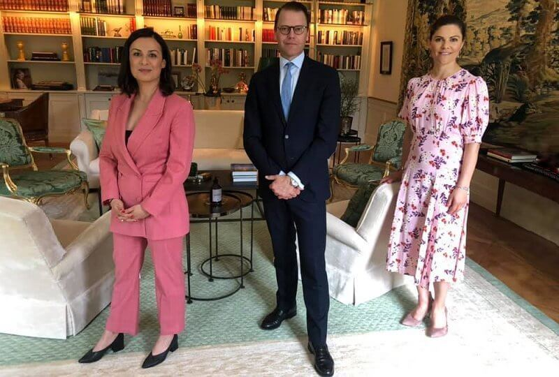 Crown Princess Victoria wore a new pink bloom 50s floral print midi dress from byTiMo
