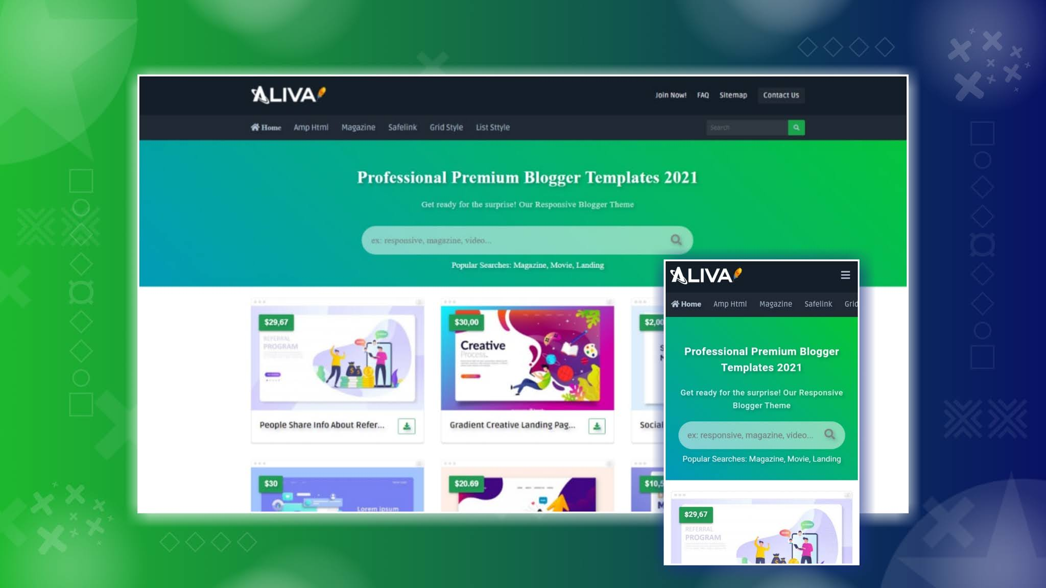 Aliva Premium Responsive Blogger Template Download