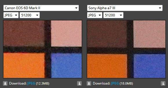 Сравнение качества изображения Sony A7 III и Canon EOS 6D Mark II на ISO 51200