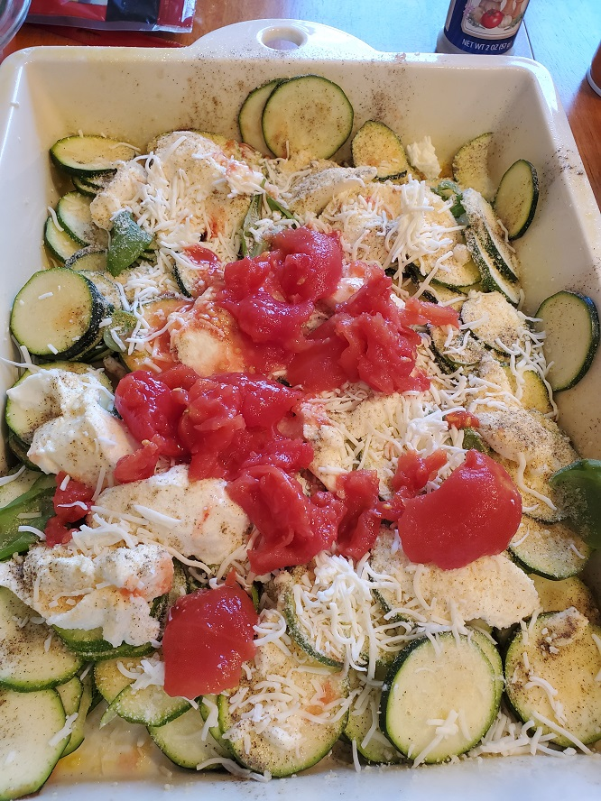 this is zucchini layered with cheeses and tomatoes