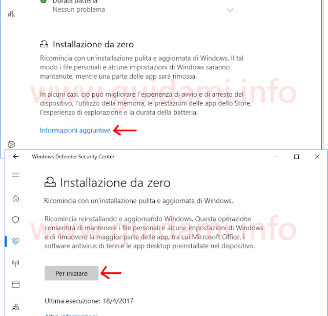 Windows 10 Windows Defender opzione Installazione da zero
