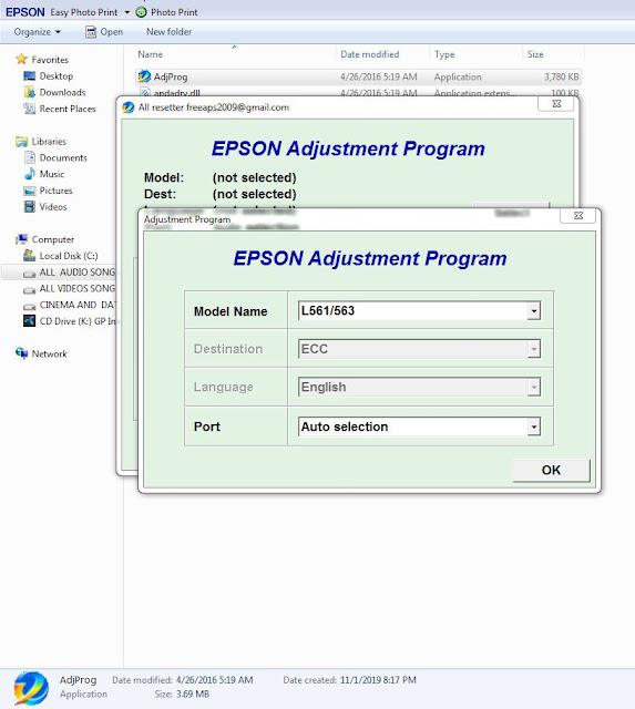 EPSON L563 RESETTE