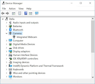 Device Manager showing Cameras node