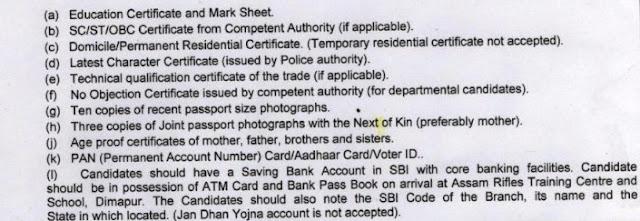 Assam Rifles Verification documents