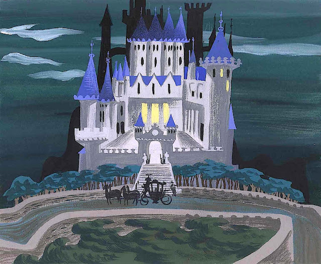 a Mary Blair color development sketch of a castle for Disney animation