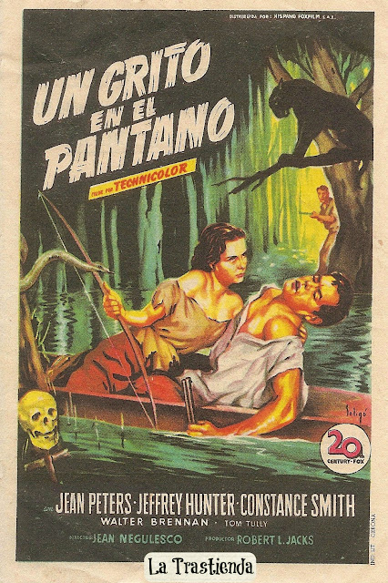 Un Grito en el Pantano - Folleto de cine - Jean Peters - Jeffrey Hunter