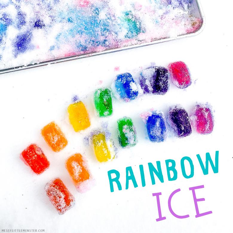 Rainbow ice winter activity for kids