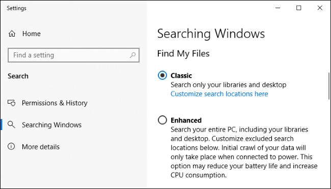 إعدادات الفهرسة في Windows 10.