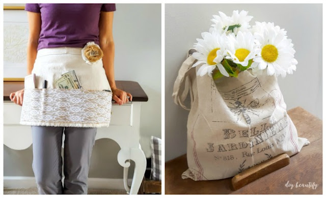 I'm celebrating my Blogiversary with 4 days of giveaways! Enter to win a hand sewn craft fair apron and a vintage market bag at diybeautify!