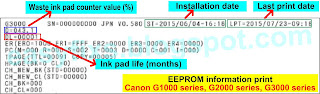 EEPROM information print for Canon G1000 series, G2000 series, G3000 series