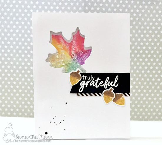 Leaf Shaker Card by Samantha Mann | Shades of Autumn Stamp Set by Newton's Nook Designs #newtonsnook #handmade