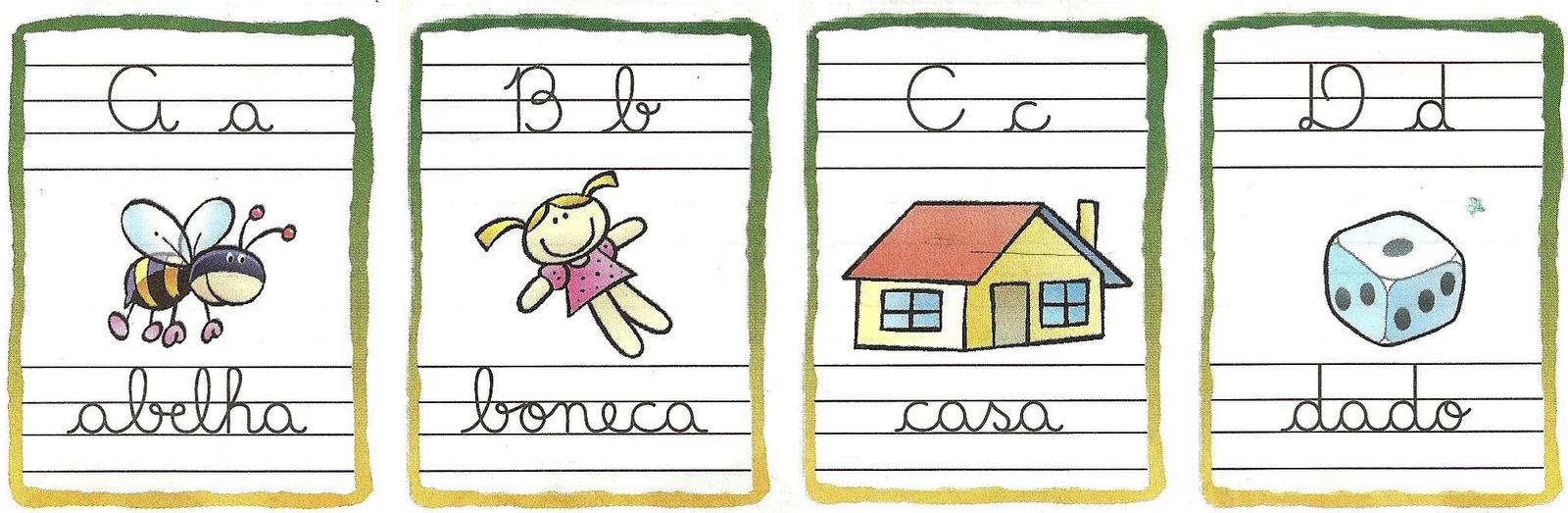 Alfabeto Ilustrado Com Letras Cursivas S Escola -> Desenhos Para Alfabeto Ilustrado