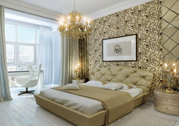 Diseño dormitorio color oro