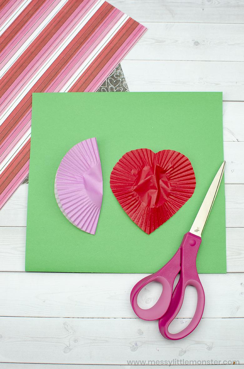 Cupcake liner Valentine craft for kids